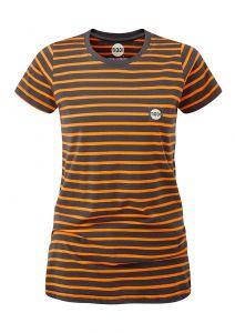 Women's Striped Tech T-Shirt Charcoal/Orange